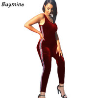 Colorful Side Stripes Jumpsuit Women 2017 Backless Sexy Bodysuit Crushed  Velour Skinny Jumpsuit Push Up Be 6fdc7c372