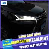 Новый автомобиль Стайлинг для фары Toyota Highlander 2017 2018 динамический поворотов полный светодио дный светодиодный фара светодио дный DRL Авто инти