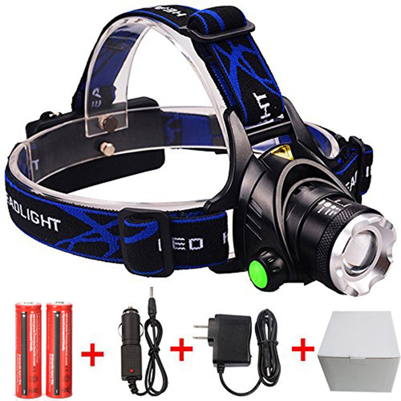 RU USA 2300Lumen CREE XM-L T6 LED Headlamp Headlight Caming Hunting Head Light Lamp 3 Modes +2*18650 Battery + EU+Car Charger rechargeable 2000lm tactical cree xm l t6 led flashlight 5 modes 2 18650 battery dc car charger power adapter