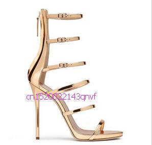 Hot Selling Gold Metallic High Heel Sandal Cut-outs Buckle Strappy Sandal Woman Sexy Gladiator Women Sandals Free Ship hot metallic gold strappy pompom embellished crystal wooden heel gladiator women sandals women shoes sanglaide zapatos mujer