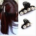 Pérola Hairpin cristal Strass barrette cabelo clipe garra do cabelo de Plástico acessório do cabelo das mulheres preto Elegante para lady meninas