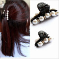 Pearl crystal Hairpin Rhinestone hair barrette clip women hair accessory black Plastic hair claw Elegant for lady girls