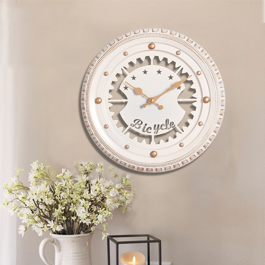 American Modern Wall Clocks Living Room Metal Gold Decor Watch Wall Beautiful Horloge Mural Home Decoration Accessories 50KO572 in Wall Clocks from Home Garden
