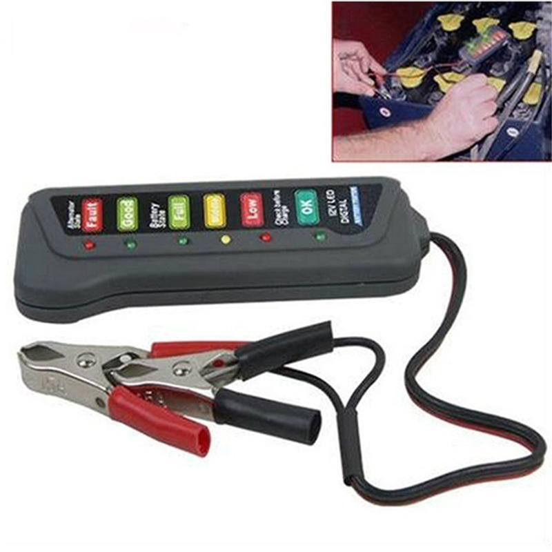 6LED Lights Portable Battery Tester Display Battery Testers Alternator Tester Car Vehicle Diagnostic Tool Autool Battery Tester
