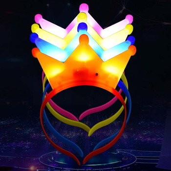 1pcs New LED Flashing Glow Headband Women Girls Crown Heart Light Up Hairbands Hair Accessories Glow Party Supplies 1