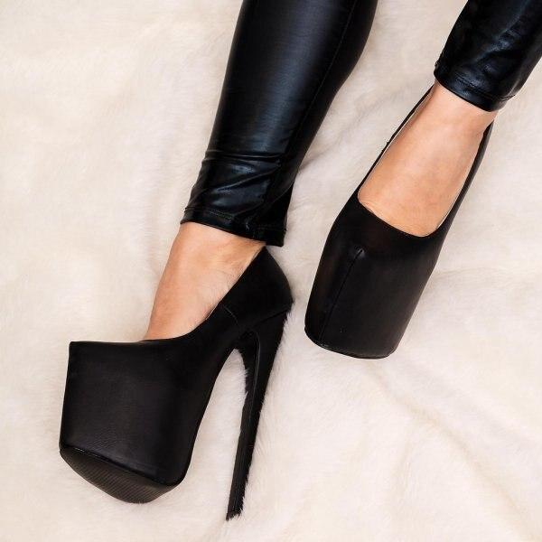 3c1b498c52f Stiletto Heel Concealed Platform Court Shoes - White Black Leather Style  RoundToe Super 16cm High Heels Women