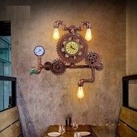 Американский Лофт стиль Эдисон бра Винтаж промышленное освещение ретро дерево шестерни Настенные светильники Утюг Водопровод
