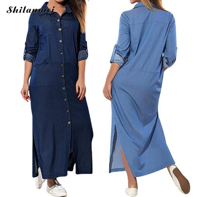 2f79029edfd Women Casual Long Sleeve Buttons Down Shirt Dresses 2019 New Spring Summer  Cotton Denim Blue Loose Split Plus Size Work Vestidos
