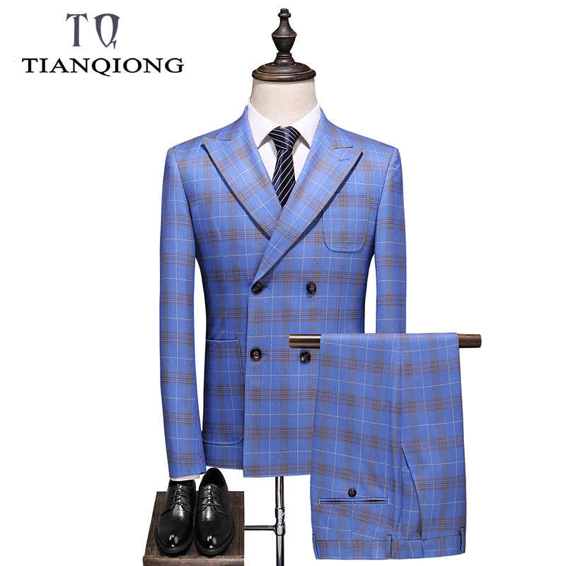 Double Breasted Plaid Pak voor Mannen Lichtblauw Mens Suits Ontwerpers 2019 Terno Slim Fit Masculino Bruidegom Bruiloft Pak Man