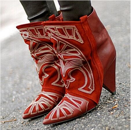 Black Red Dress Boots Totem Embroidery Boots Top Quality Slip-On Mid Calf Boots Zapatos Mujer Mixed Color Spike Heels Boots hot selling chic stylish black grey suede leather patchwork boots mid calf spike heels middle fringe boots side tassel boots