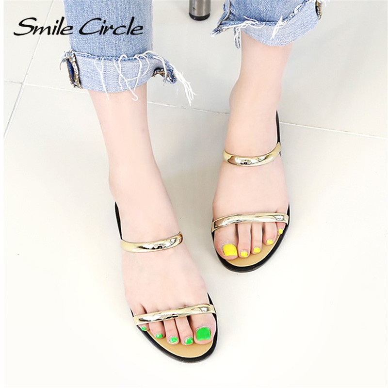 Smile Circle 2018 Summer flip flop Women slippers Fashion Simple Flat Shoes Women Sandals Jelly beach shoes A3938-1