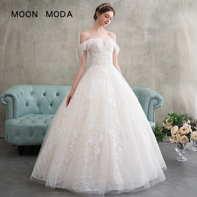 Lace Wedding Dress 2018 Boat Neck A Line Simple Wedding Gowns Plus