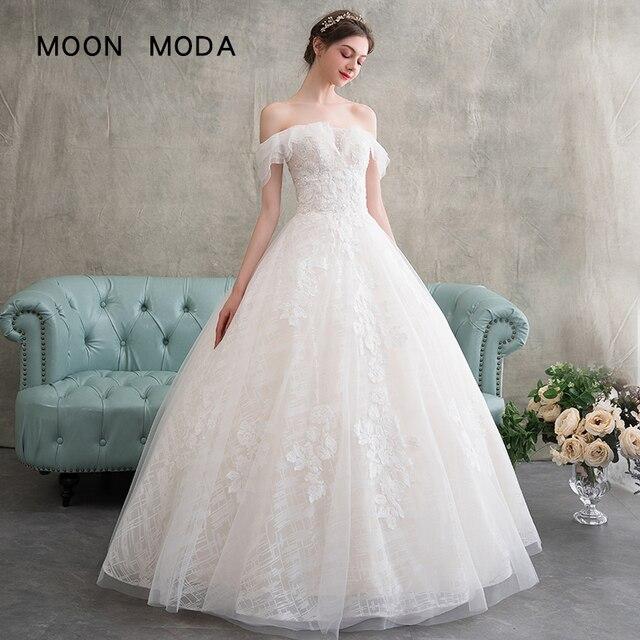 Simple Wedding Dresses Boat Neck: Lace Wedding Dress 2019 Boat Neck A Line Simple Wedding