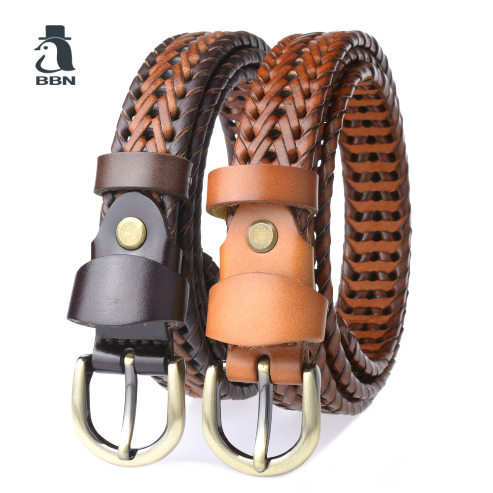 BBN New Braided Leather womens Belt Hand Knitted Genuine Leather Brass Pin Buckle Casual Style Woven Tanned Cowhide