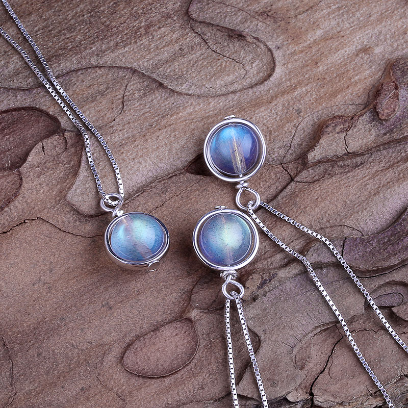 Real 925 Silver Natural Labradorite Stone Pendant Necklace For Women Lucky Bead Fine Jewelry Gemstone bijoux