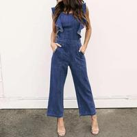 Summer Wide Leg Pants Fashion Ruffle Casual Jumpsuits Jeans Women Jumpsuit Denim Overalls Shirt Rompers Female WS7576V