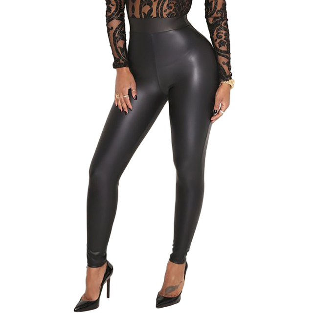 8f21947c89 Sexy Women Pu Leggings Wet Look Faux Leather Stretchy Pencil Pants Elastic  Waist High Rise Skinny Pants Female Trousers Black