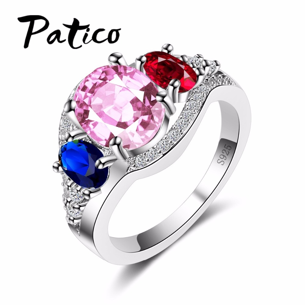 Patico 925 Sterling Silver Ring Mixed Crystal Woman Ring Fashion Romantic  Engagement Ring Clear Stones Jewelry