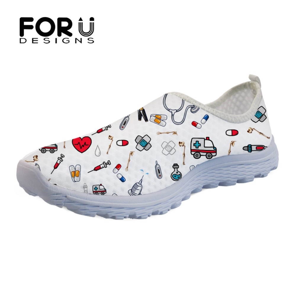FORUDESIGNS Cartoon Nurse/Premium Sketch Medical Print Womens Casual Shoes Flats Beach Comfortable Mesh Slip-on Women Sneakers