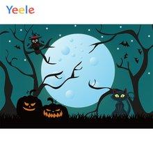 Yeele Хэллоуин Ночь Луна Тыква фонарь летучие мыши кошка фоны