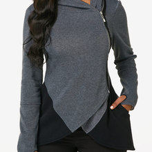 купить 2019 new long sleeve side zipper contrast coat hooded cross hoodie дешево
