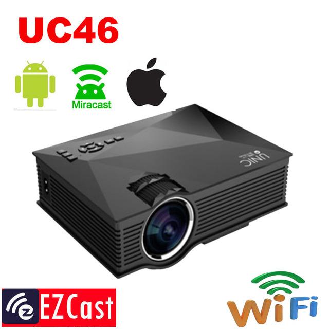 Nueva conexión inalámbrica 1200 lúmenes soporte android, ios, windows 8.0 y por encima de unic uc46 wifi mini proyector portátil proyector atco