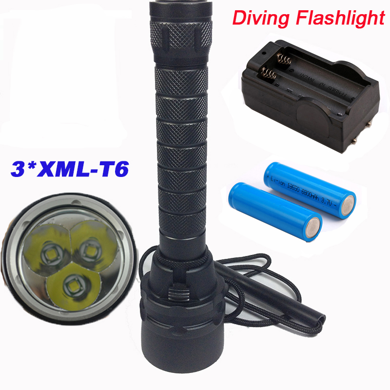 High brightness 3*XML-T6 15000lums Flashlight Torch Professional Diving linternas Dive Underwater 200 Meters Diving Flashlights sitemap 200 xml