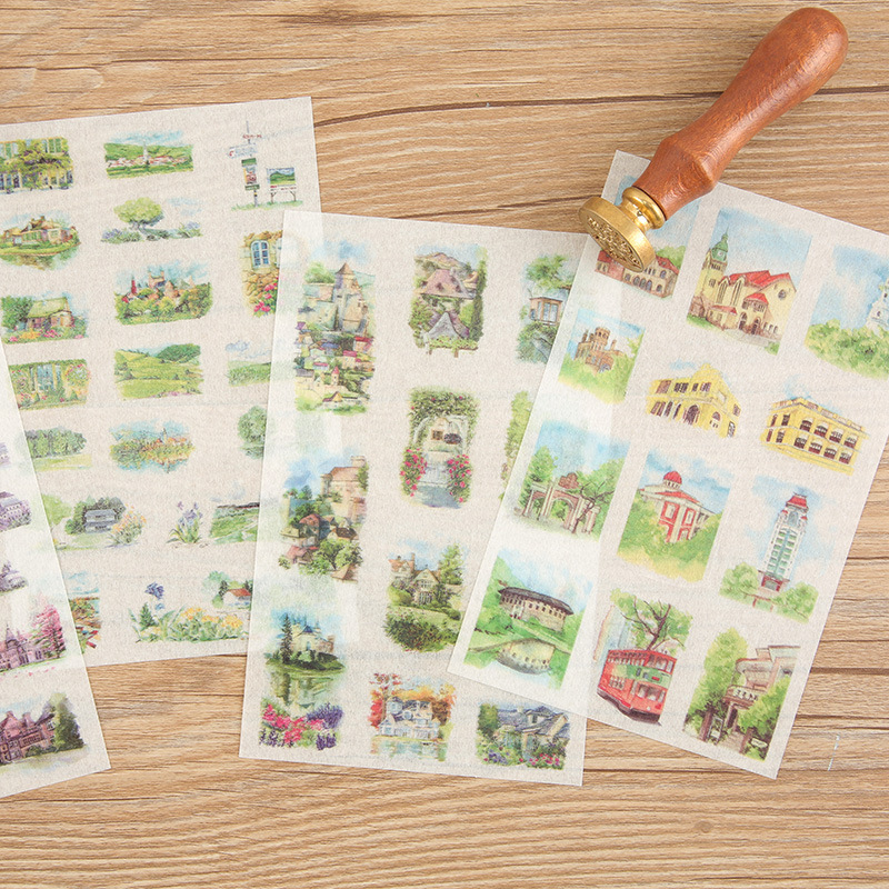 6 Sheets Cute Stationery Meet Dream House Oil Sticker Beautiful Painting Country Town Diary Album Decor DIY Stickers Kids Gift