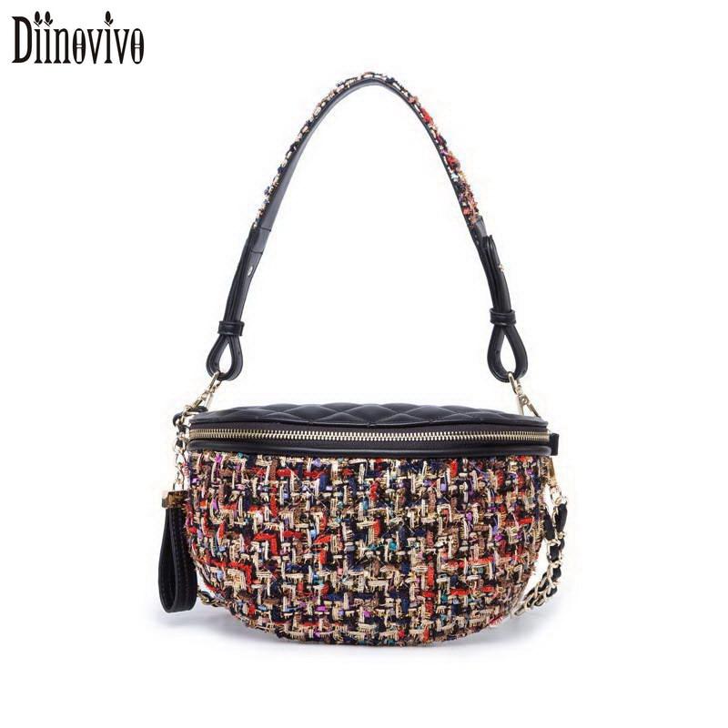 Diinovivo Multi Use Tweed Knit Plaid Waist Bags New Fanny Packs Fashion Chain Crossbody Bag Women Vintage PU Belt Bag Belly A003