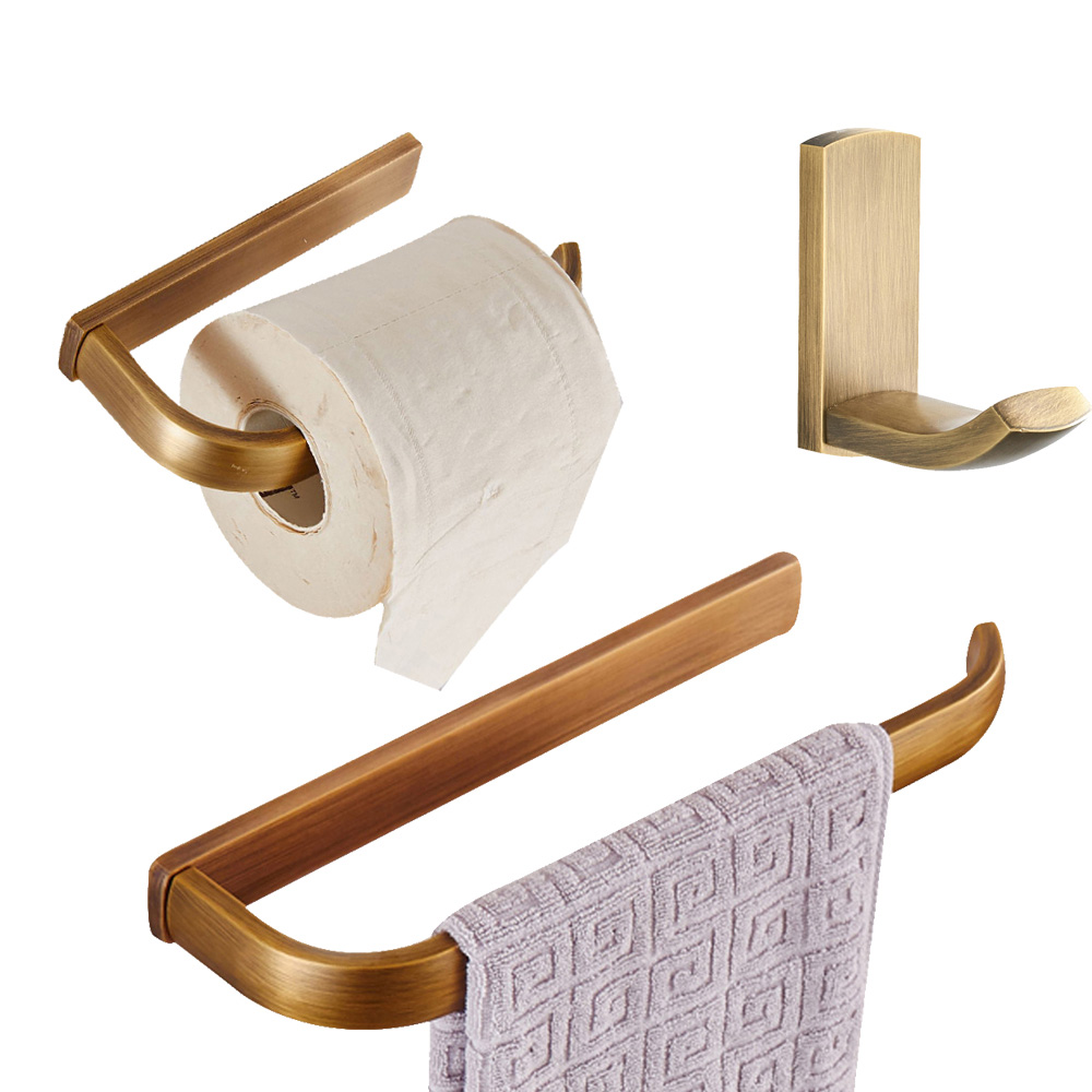 Leyden 3pcs Bathroom Accessories Set Antique Brass Wall Mounted Towel Ring Holder Toilet Paper Holder Clothes Towel HookLeyden 3pcs Bathroom Accessories Set Antique Brass Wall Mounted Towel Ring Holder Toilet Paper Holder Clothes Towel Hook