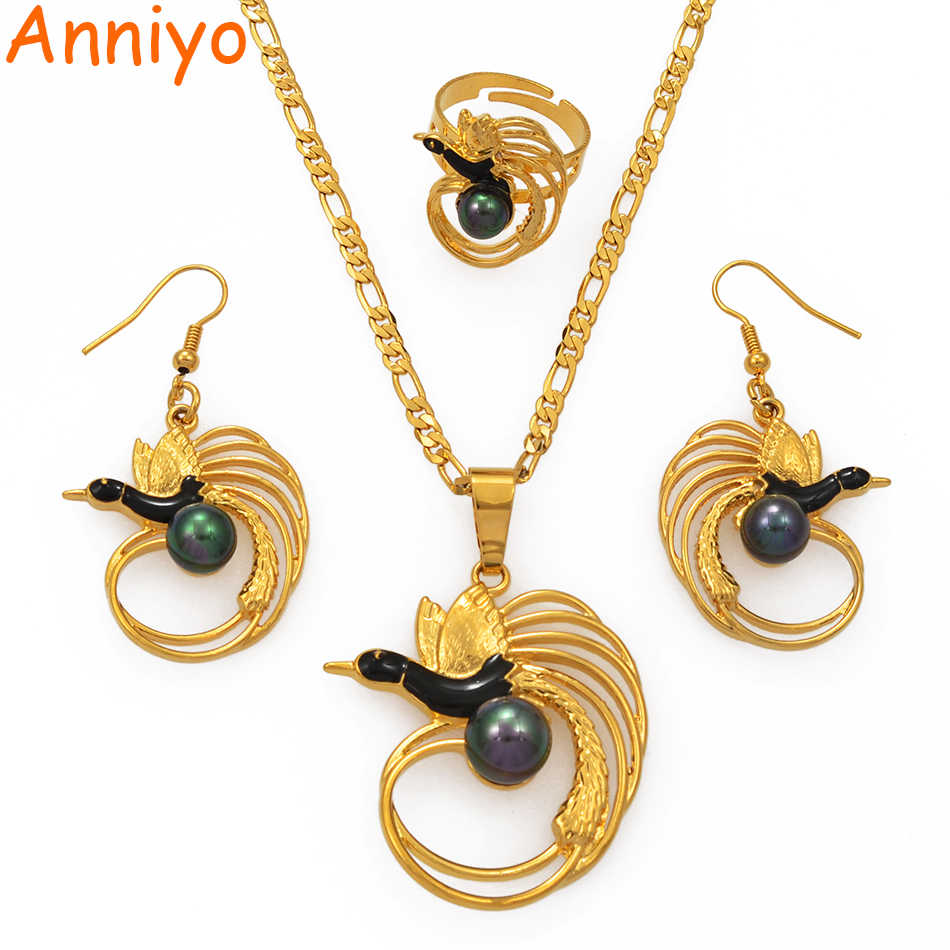 Anniyo Green Black Pearl Bird Necklace Earrings Ring Sets for Women Gold Color Papua New Guinea PNG Wedding Jewelry #196806