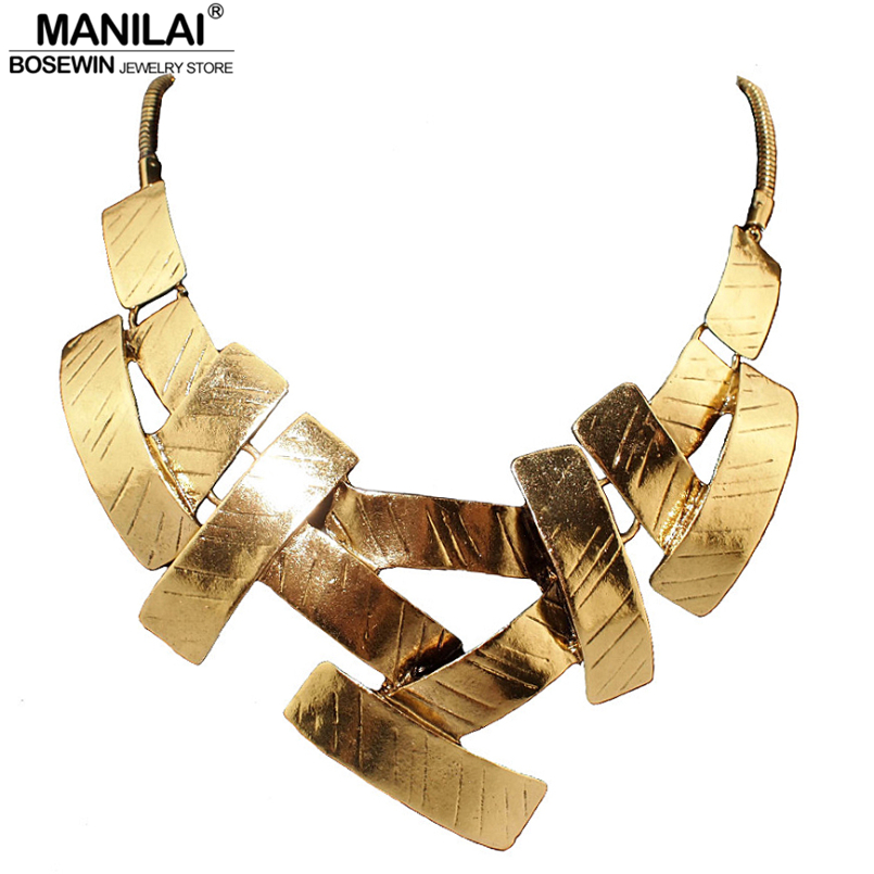 MANILAI Vintage Bib Choker Necklace Women Cross Metal Pendans