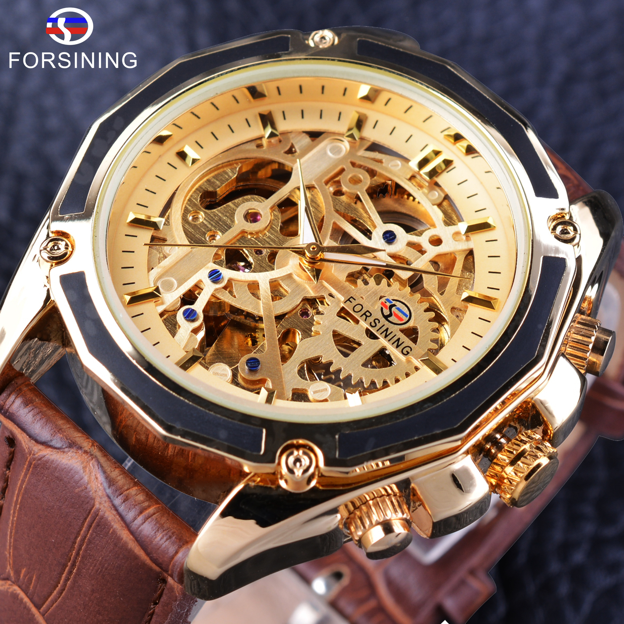 Forsining Transparent Luxury Gear Steampunk Brown Äkta Läder Bälte Golden Movement Inside Självgående Automatiska Armbandsur