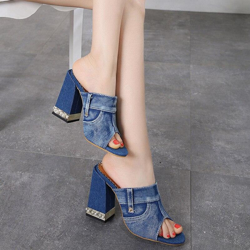 11 Tacones Azules Mezclilla Moda Zapatos Mujer Zapatillas De Verano Cm Alto Tacón Cuadrados Sandalias MGpqSUVz