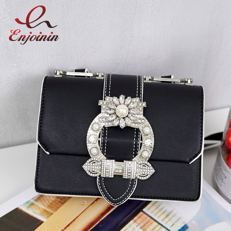 High quality fashion silver diamonds pearl pu leather female shoulder bag handbag purse flap women's crossbody messenger bag  fashion design bee metal pearl pu leather chain ladies shoulder bag handbag flap purse female crossbody messenger bag 5 colors