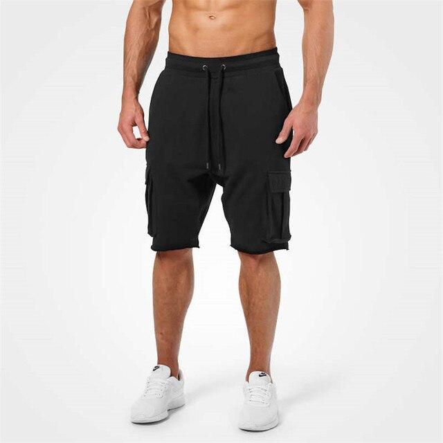 81f1ec058f0 Mens Gym Fitness cotton shorts Run jogging sports bodybuilding Calf-Length  Crossfit Sweatpants 2018 New male workout short pants