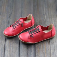 Women Shoes Flat 100 Authentic Leather Round Toe Lace Up Ladies Shoes Flats Woman Moccasins Female