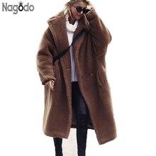 Nagodo teddy coat 2018 winter long faux fur coat women brown red casual lamb wool coat warm oversized furry plush coat plus size