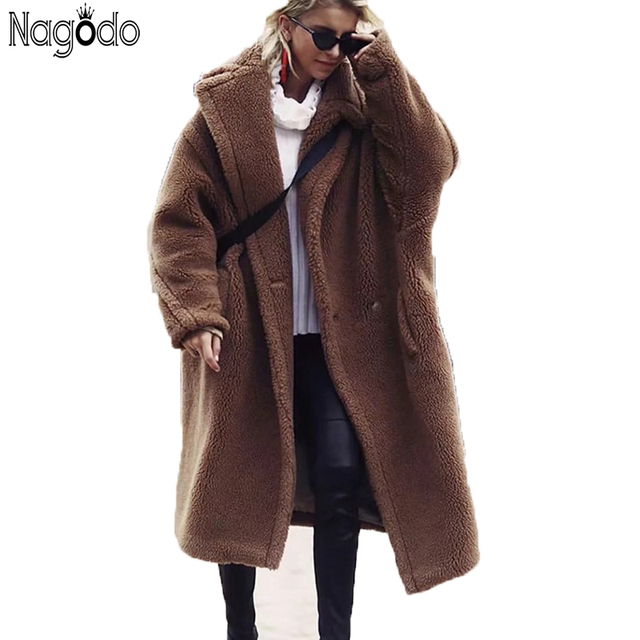 5c2d3ca7db91d Nagodo teddy coat 2018 winter long faux fur coat women brown red casual  lamb wool coat warm oversized furry plush coat plus size