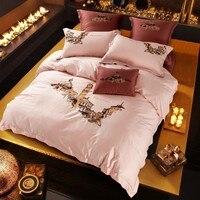 Châu âu Thành Phố In Ánh Sáng Màu Hồng Nữ Hoàng Kích Thước 4 Cái Bedding Set Thêu Kỹ Thuật Cotton Ai Cập Bedlinens Bộ Vỏ Chăn