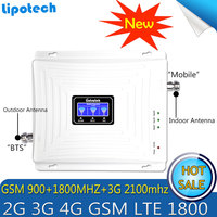 Lintratek 900 1800 2100MHz Booster 2G 3G 4G Signal Tri Band Repeater LCD Display Mobile Phone