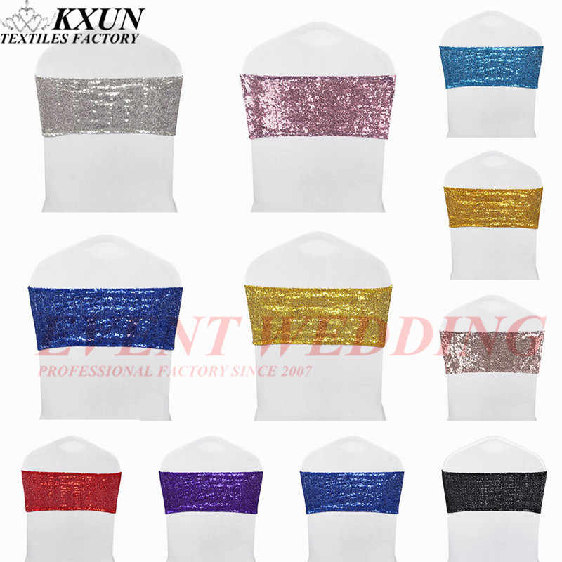 Spandex Lycra Sequin Chair Band Sash Elastic Stretch Glitter Chair Cover Bow Ties Hotel Party Wedding Decoration