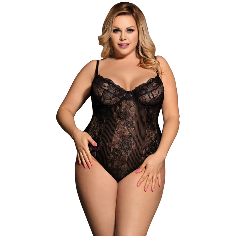 Body Femme Sexy See Though Neon White Black Floral Sheer Plus Size Lace Bodysuit M XL 3XL 5XL Rompers Womens Jumpsuit R80536