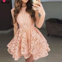 TaoHill кружева платье для коктейля 2019 аппликация Розовый Короткое коктейльное вечернее платье платья шапки Рукава Vestidos De коктель Халат