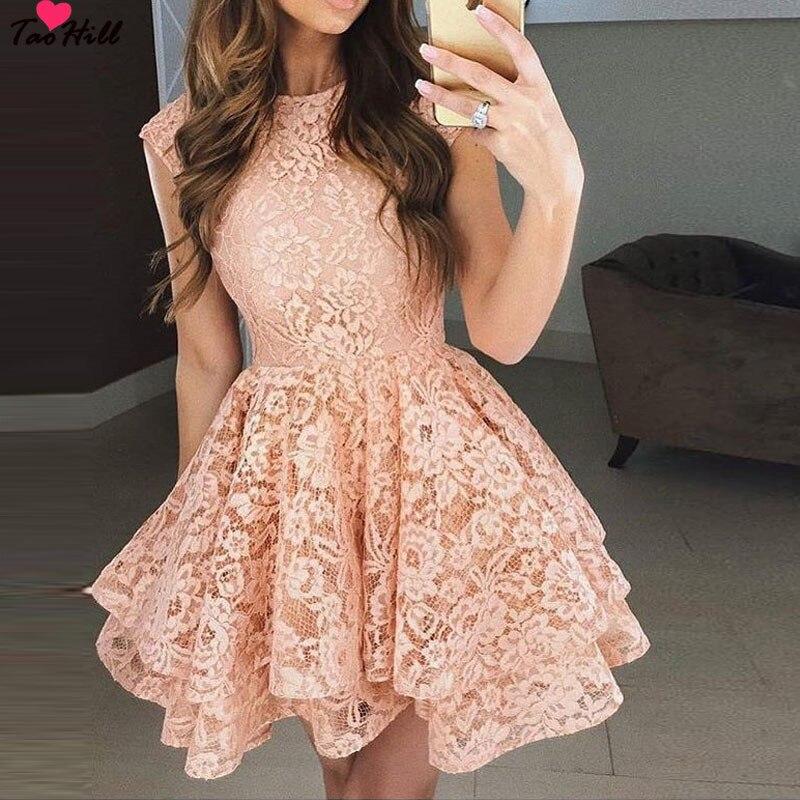 TaoHill  Lace Cocktail Dress 2019  Applique Pink Short Prom Dress Party Cocktail Dresses Cap Sleeves Vestidos De Coctel Robe
