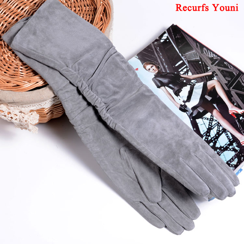 2019 Fall/Winter Fashion Women Pigskin Suede Genuine Leather Fold Long Glove Lady 30/40/50cm Black/Pink/Red Classic Luvas Mujer