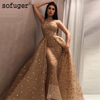 2019 Long Couture New Prom Gowns Robe de soiree African Muslim Sofuge Turkish Sleeveless Long Evening Party Dress