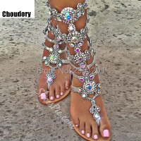 High Quality Gold Silver Rhinestone Knee High Flat Heel Sandals Summer Women Gladiator Sandals Sandalias Gold