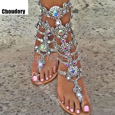 High Quality Gold silver Rhinestone knee High Flat heel Sandals Summer Women Gladiator Sandals Sandalias Gold Black Size 33-44