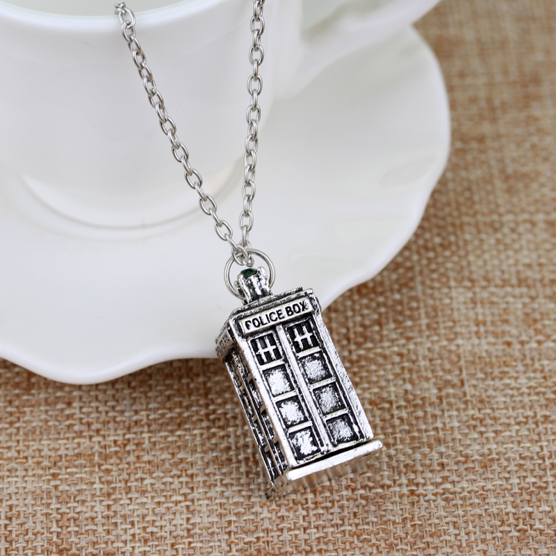 MQCHUN fashion Television Doctor Who necklace Tardis Police Box Vintage Antique Silver Necklace Pendant Men Women Jewellery Gift